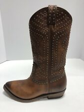 Frye Billy Stud Pull On Cognac Brown Leather Western Boots Women's Size 6M 70441