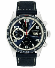 EBERHARD CHAMPION V GRANDE DATE CHRONOGRAPH BLUE DIAL AUTOMATIC MENS WATCH $4600