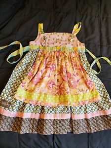 MATILDA JANE SERENDIPITY KNOT APRON DRESS EUC GIRLS SZ 10