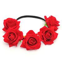 Elegant Women Bridal Rose Flowers Elastic Hair Band Garland Headpiece Headband