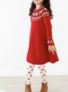 Girls Hanna Andersson Snö Happy Knit Red Sweater Dress 120 6 7 NWT Christmas $68