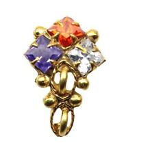 Ethnic Multi-color CZ Nose Stud, screw nose piercing , gold plated nose Ring