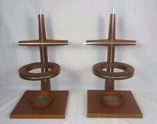 Pr Vintage Mid Century Walnut Wood Aluminum Cross Cylinder Vase Candle Holder