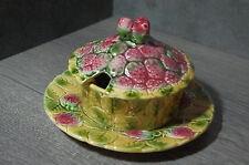 Vintage French Ceramic lidded Majolica Jam Pot Sarreguemines 19th fruits