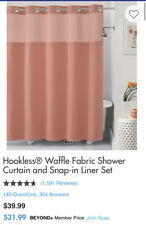 Hookless Waffle Fabric Shower Curtain And Snap In Liner Set Color-Coral