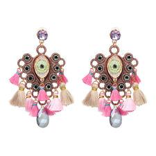 Vintage Enamel Eye Zircon Tassel Crystal Pendant Ear Stud Drop Earrings Jewelry