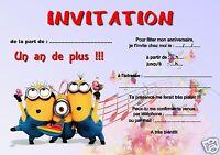 5 ou 12 cartes invitation anniversaire LES MINIONS réf 255