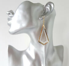 Gorgeous 6cm  long gold tone & sparkly glitter diamond shaped drop earrings *NEW