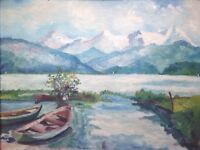 MAURICE XXe Paysage de Montagne Lac d'Annecy Huile signée