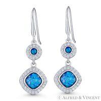 Fiery Blue Lab-Opal CZ Crystal .925 Sterling Silver Dangling Drop Hook Earrings