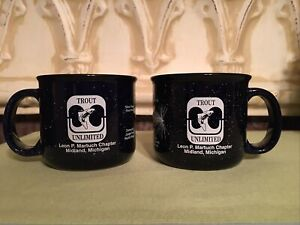 Pair/2 Trout Unlimited Thick Heavy Navy Blue Speckled Large Coffee Soup Mug Cups