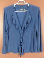 STK3062- CHICO'S TRAVELERS Women's Slinky Knit Jacket Ruffle Steel Blue 3 L XL