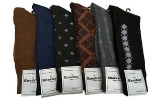 6 or 12  Pairs Men's Multi Pattern Designs & Colors  Dress Socks Size 10-13