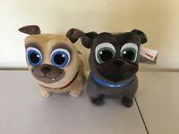 "NEW Disney Store Puppy Dog Pals Rolly and Bingo Plush 12"" PUG Set of 2 Plush NWT"