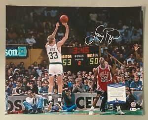 Larry Bird Signed 16x20 Photo w/ Michael Jordan Beckett BAS WITNESSED COA