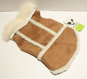 Fitwarm Faux Suede Fleece Fur Collar Dog Coat Jacket for SMALL BREED DOG