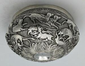 INDIAN KUTCH ANTIQUE SILVER BOWL ANIMALS HUNTING 19TH CENTURY Islamic Art
