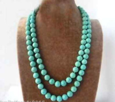 8mm Round Ball Green Blue Turquoise Stone Gemstone Bead Long Necklace 35''