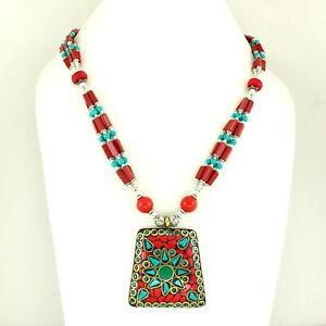 Pendant Necklace Red Quartz Tibetan Green Turquoise Gemstone Beaded Jewelry