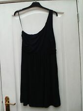 H&M NAVY BLUE STRETCHY ONE SHOULDER DRAPED FRONT DETAIL FLOATY SUMMER DRESS 8/10