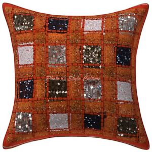 "Khambadiya Patchwork Pillow Cover Cushion Throw Vintage Indian Sofa Decor 16"""