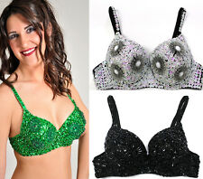 Sexy Clubwear Rave GoGo Flower Sequin Beaded Belly Dancer Bra Samba Costume 34C