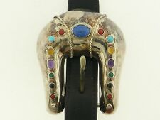 Lapis, Coral, Turq. etc. Silver .925 Belt Buckle Hollywood Classics Gary Parsons