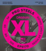 D'ADDARIO EPS170 PROSTEEL BASS STRINGS, REGULAR LIGHT GAUGE 4's - 45-100