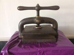 Antique Book Binding Press Vintage Printing Smith London Metal Ornament Display