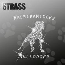 AMERICANO Bulldogg CANE APPLICAZIONE foto strass FERRO STIRO hotfix 22cm largo