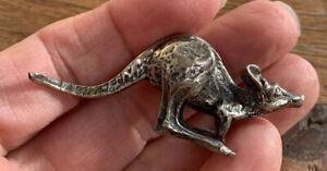 Vintage 1980s, Miniature Solid Fine Silver Kangaroo Figure. Excellent Detail.