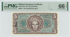 Series 651 $5 Military Payment Certificate MPC PMG GEM 66 EPQ