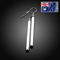 New 925 Sterling Silver Filled High Polished 6.5cm Bar Dangle Earrings Stunning