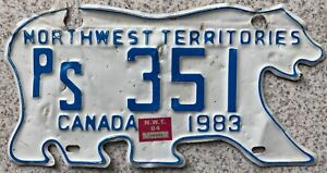 Northwest Territories Canada Bear License Canadian Licence Number Plate PS 351
