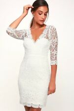 RAINEY WHITE LACE LONG SLEEVE DRESS LULUS Medium Perfect For Wedding/Rehearsal