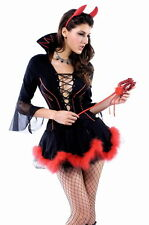 Women's Miss Iblis Devil Halloween Fancy Dress Costume With Horns 12-14 UK