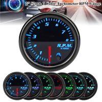 "Universal 2"" 52mm 7 Color LED 0-8000RPM Tacho Tachometer Gauge Car Meter Pointer"