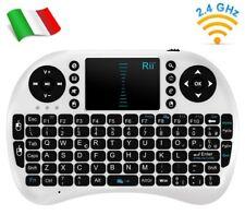 Rii Mini i8 Wireless (ITALIANO) - Mini tastiera wireless con mouse, bianca
