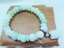 Natural Grade A Jade (jadeite) 10mm Aqua beads Bracelet with Pixiu Charm