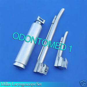 Laryngoscope Medium Handle C + 2 Miller Blade #1 And #4 Ent Anesthesia Ls-3012