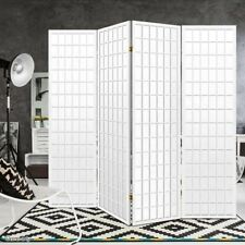 Room Divider 4 Panel Privacy Screen Folding Partition White Wooden Home Office