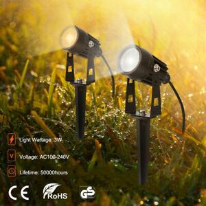 LED 240V Mains Garden Spot Lights Outdoor Yard Lawn Waterproof Ground Spotlight