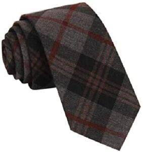 New Wool Tartan TIE Country Tweed Scottish Style Plaid Grey Woven Skinny Smart