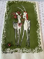 """1 Vintage Contempo Christmas Mr & Mrs Reindeer Crepe Paper Napkin 12x16""""in NOS"""