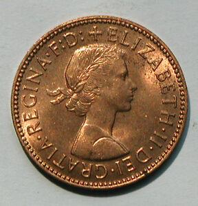 1963 UK (British) Elizabeth II Coin - Half Penny 1/2d - red lustre - spots