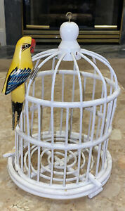 """Vintage Hand painted White Bamboo Wood Bird Cage Yellow Wood Clip Parrot 12x8"""""""
