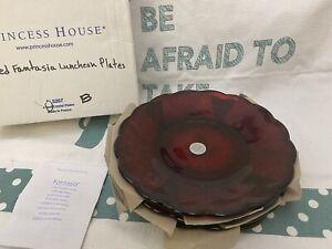 5267 Princess House Fantasia RED RUBY Luncheon Plates Set 4 NIB Discontinued HTF