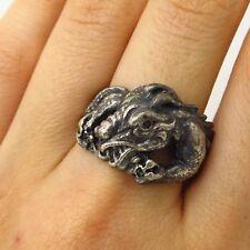 Vtg 925 Sterling Silver Real Emerald Gem Chinese Dragon Design Ring Size 10.5