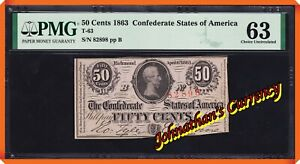 JC&C - T-63 1863 50 Cents Confederate States of America - CU 63 by PMG