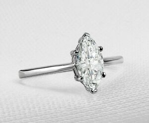 1 CT Marquise-cut Diamond Solitaire ENGAGEMENT RING 14K WHITE GOLD Sterling Silv